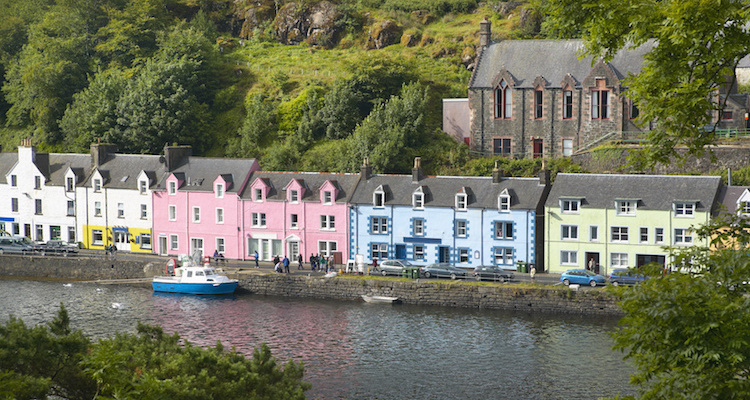 Multicolored houses in Portree. Skye isle. Scotland. UK